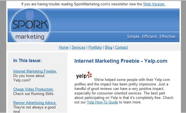 spork marketing email newsletter sample