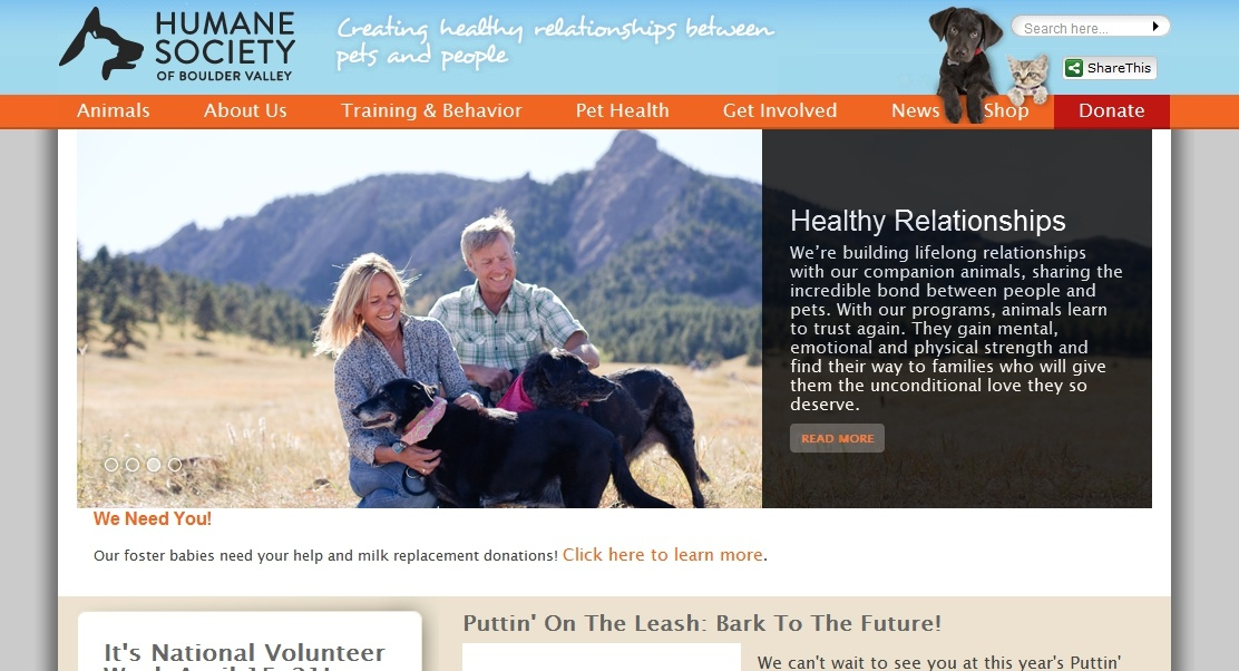 website content example for humane society