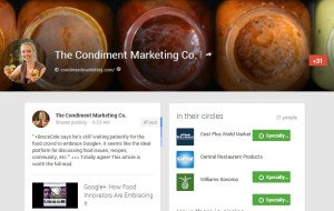 google plus account for condiment marketing co